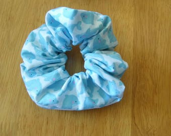 Hair ruffle / scrunchie with sea dolphins