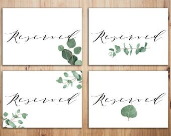 Greenery reserved sign Printable Reserved Sign Greenery Wedding Signs Green wedding Eucalyptus Reserved Signs Leafy wedding table decor
