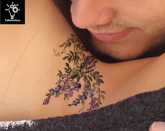 Flower tattoo etsy for Fake neck tattoo