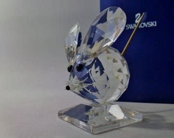 Swarovski Silver Crystal ~ Large Mouse ~ 010025-Crystal Figurine-Vintage Crystal- Swarovski Mouse- Max Shreck-Crystal Collectibles