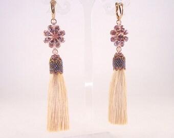 Seed bead wattled earrings with tassel & Swarovski crystal