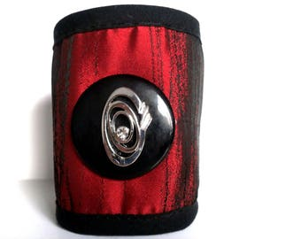 fabric Cuff Bracelet with Rhinestone Heart