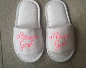 Personalised Slippers - Flower Girl Slippers - Bridesmaid Slippers - Bridal Party -