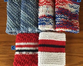 Hand knitted dish cloths, set of 2, red white blue, blue dish cloths, wash cloths, kitchen, linen, washcloth, Labor Day, picnic