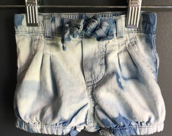 0-3 month soft denim shorts repurposed