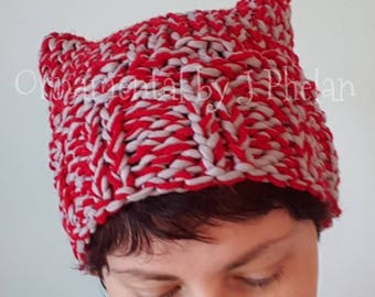 Ohio State Buckeyes Hat - Scarlet and Grey Knit Cat Hat - Hand Knit Red Cat Hat - Handmade OSU Winter Hat - Go Bucks - Ohio State Buckeyes