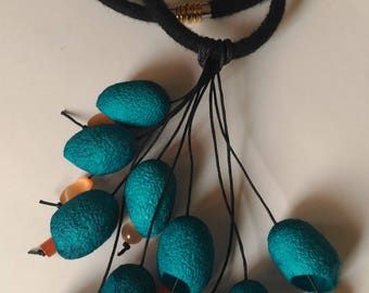Summer turquoise necklace Necklace with silk cocoons Long Necklace-Boho Silk cocoon jewelry Necclace gift Handmade Acsessories