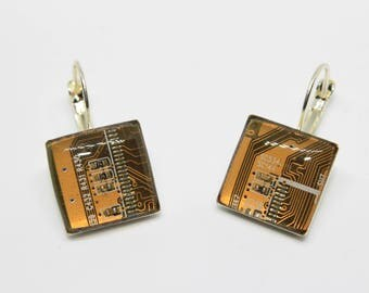 Earrings with recycled motherboard of the computer. Electrical circuits. Gift for her.  Gift Nerd and geek. Yellow