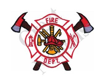 Fire Department Logo - Machine Embroidery Design