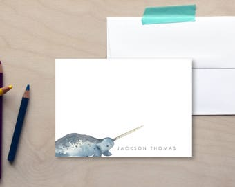 Kids Personalized Stationery Set, Custom Stationery, Custom Note Cards, Children's Stationery, Narwhal Stationery, Nautical Stationery Set