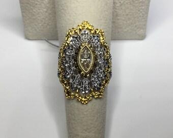 Estate 18K White & Yellow Gold 1.5 CTW Diamond Ring 7.5 Grams Size 6