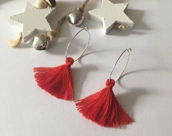 Sterling Silver hoop earrings with Red Tassels