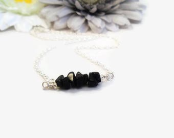 Black obsidian necklace, raw crystal bar jewelry, root chakra reiki healing crystals and stones, black gemstone, minimalist choker necklaces