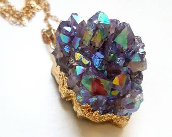 Rainbow Aura Amethyst Cluster with gold plated finish