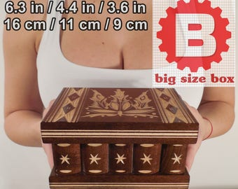 Brown handmade wooden SECRET JEWELLRY box case, Hideen place safe, stash place BIG size,  -6.3 in / 16 cm x 4.4 in / 11 cm x 3.6 in / 9 cm-