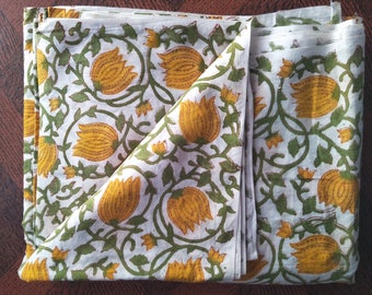 Indian Hand Block Yellow Flower Print Fabric Dressmaking Running Cotton Block print fabric Natural color soft Home decor  Crafts Soft Fabric