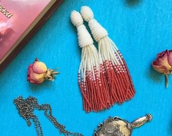 Tassel earrings, Oscar de la Renta tassel earrings, beaded tassel earrings, Oscar de la Renta earrings, beaded tassel, white  earrings