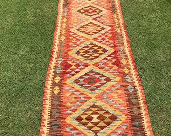 Article # 5369 VEGETABLE DYED Hand Made Chobi Kilim Runner Rug Double Face Design 390 x 82 cm - 12.8 x 2.7 Feet