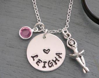 Personalized Ballerina Necklace, Ballerina Name Necklace, Ballet Necklace, Name Necklace, Name Birthstone Necklace, Ballet Heart Necklace