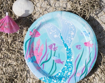 Purple and Blue Mermaid Party Small Plates/ Purple Mermaid Party Plates/ Mermaid Plates
