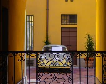 Yellow car photo Patio Retro car photo Vintage car photo Italian patio Italy photography Milan photo Old car Stylish wall art
