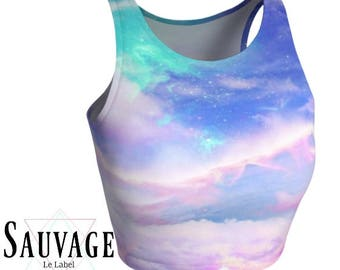 Sky galaxy • Athletic crop top • Festivals and yoga classes approved • handmade in Montreal - Xs to XL