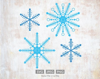 Snowflakes for Christmas or Winter  - Vector / Cut File - Silhouette, Cricut, SVG, PNG, JPEG, Clip Art, Stock Photo, Download, Snow, Ice