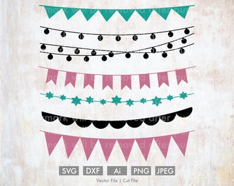 Garland/Banner/Lights svgs - Vector/Cut File, Silhouette, Cricut, PNG, DXF, Clip Art, Stock Photo, Download, Wedding, Baby Shower, Party
