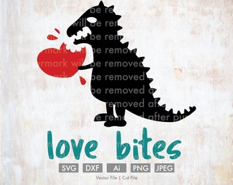 Love Bites Dinosaur T-rex - Cut File/Vector, Silhouette, Cricut, SVG, PNG, Clip Art, Download, Holidays, Hearts, Valentine's Day, Funny