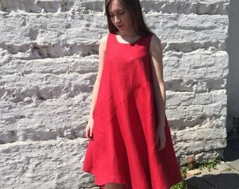 """Red linen dress """"Asama"""""""