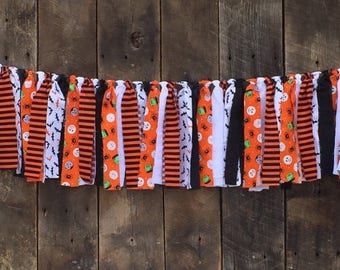 Halloween Fabric Banner, Ghosts, Goblins and Pumpkins, Happy Halloween Garland, Holiday Decor, Orange and Black Fabric Bunting