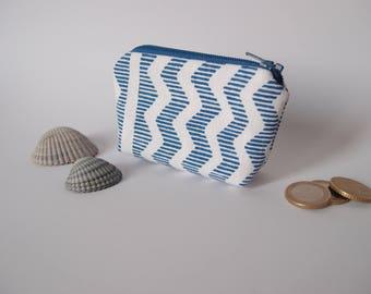 Porte-monnaie - toile bleu et blanche - motif graphique marin - mini trousse