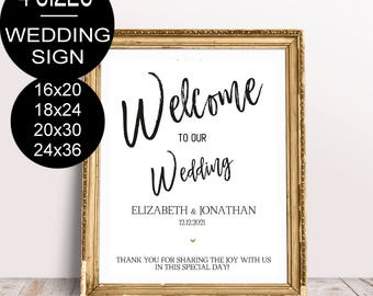 Wedding Welcome Sign Template Wedding Reception Greet Guests Faux Gold Printable Welcome to Our Wedding Poster Board DIY Template| VRD112SGW