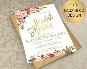 Blush Gold Bridal Shower Invitation, Bridal Shower Invite, Wedding Shower  Invitations, Wedding Printable