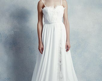 Josephine / Front slit A-line wedding dress with chiffon bow belt & court length train