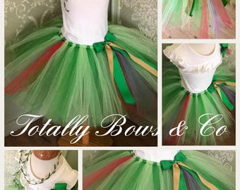 Forest fairy tutu & matching hair bow