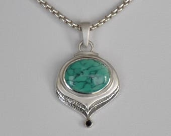 Turquoise & Sterling Silver Modern Pendant