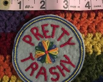Handmade patch 'Pretty Trashy' Gray