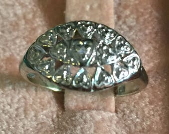 Vintage 10K White Gold 1960's Hard to Find Princess Ring