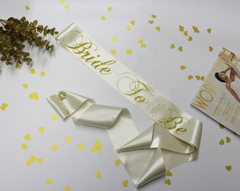 Bachelorette sash, Bridal Satin Sash with bow, Personalized, Bride To Be, Bridal Shower, Maid of Honor, Team Bride, Squad, Model L