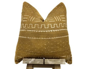 Mudcloth Pillow Cover, Authentic African Mud Cloth Pillow | Teastain | 'Chaka'