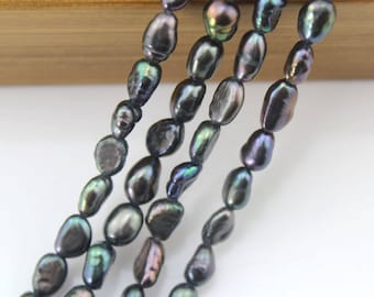 "15% OFF 5-6 mm Pearl Beads, Baroque FreshWater Pearl Beads,Black Baroque Pearl Beads About 48 pcs  One Full Strand 15""-NC162"