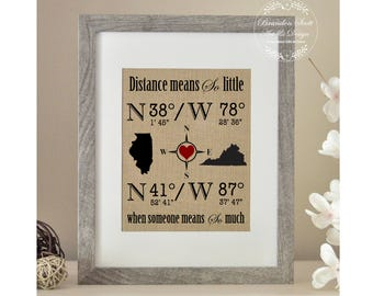 Long Distance Relationship, Personalized Burlap Gift, Long Distance Gift, Family Gift, Gift for Boyfriend, Best Friend Gift, Christmas Gift