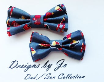 Dad Son Baby Bow Ties, Fireman Bow Tie, Father Son Bow Ties, Mens Bow Tie, Groomsmen Bow Tie, Ring Bearer Bow Tie, Baby, Boys Bow Tie  DS695