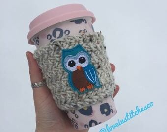 Owl travel cozy, mug sweater, mug cozy, travel mug cozy, crochet coffee sleeve