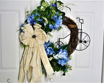 Outdoor Wreath, Indoor Wreath, Vintage Wreath, Hydrangea Wreath, Vintage Rustic Wreath, Grapevine Wreath, Vintage Bicycle Wreath, Decor