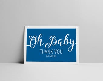 Oh Baby! Baby Shower by Arbor Grace Collections, A2 Size PRINTABLE INSTANT DOWNLOAD, Thank You Card
