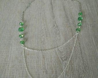 Necklace Green Pearl double chains