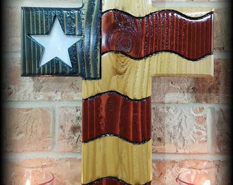 American Flag Stained Glass Cross