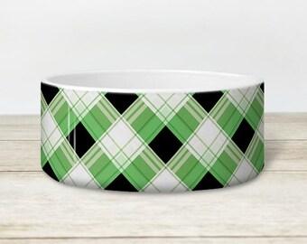 Alternative Plaid Pet Bowl - Green and Black Pattern - Dog or Cat Heavyweight Ceramic Bowl